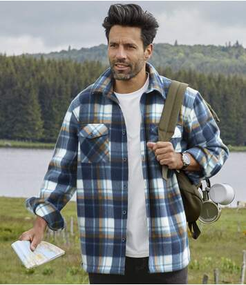 Men's Blue Checked Fleece Overshirt