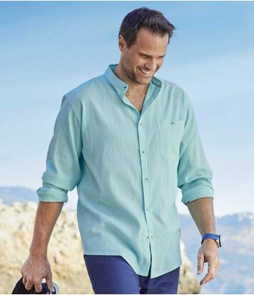 Men's Turquoise Crepon Shirt