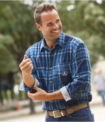 Men's Canada Lake Flannel Shirt - Blue Checks