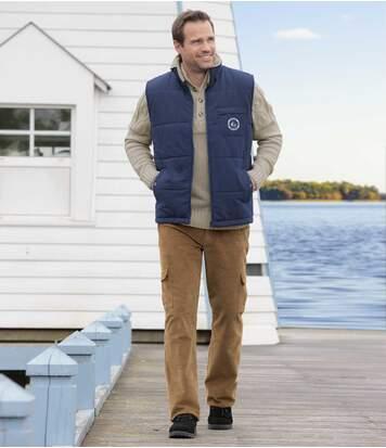 Men's Beige Corduroy Cargo Trousers