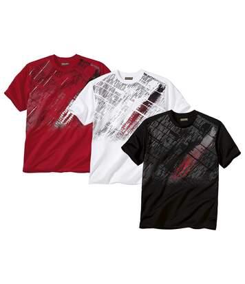 Lot de 3 Tee-Shirts Homme Col V - Blanc Noir Rouge - Beach Sport