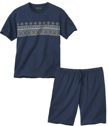 Żakardowa piżama z szortami westmount