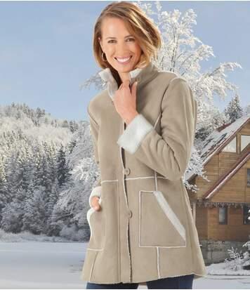 Women's Beige Faux Suede Coat with Sherpa Lining