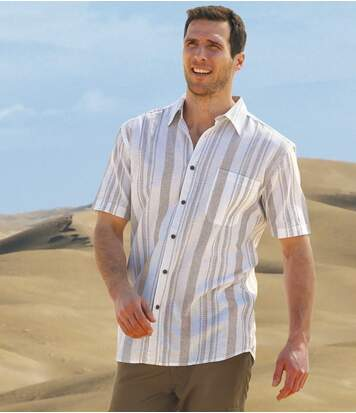 Men's Textured Striped Cotton Shirt - Short Sleeves