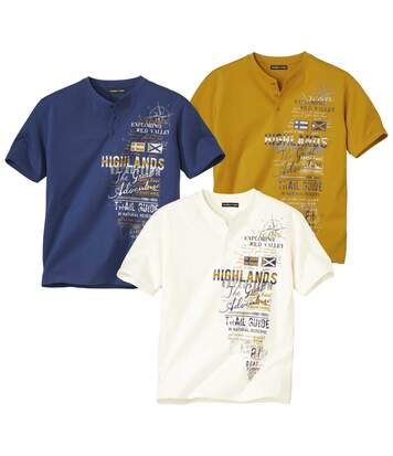 Pack of 3 Men's Highlands Print T-Shirts - Ecru Yellow Blue