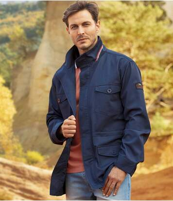 Men's Navy Safari Jacket - Full Zip
