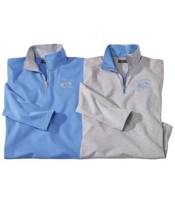 Pack of 2 Men's Half Zip Jumpers - Blue Grey