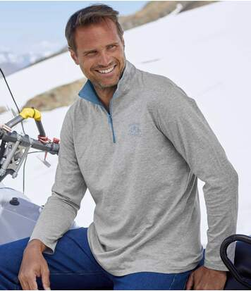 Pack of 2 Men's Half Zip Tops - Blue Grey