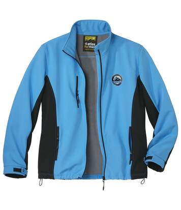 Men's Blue Microfleece-Lined Softshell Jacket - Full Zip - Water-Repellent