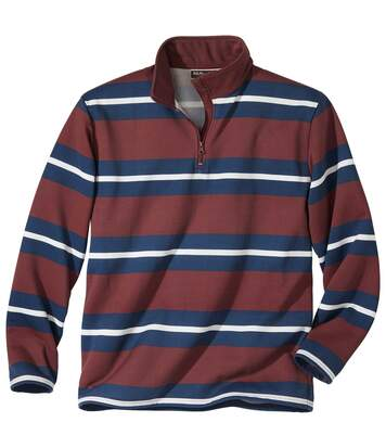 Men's Striped Zip-Neck Sweatshirt - Navy Burgundy