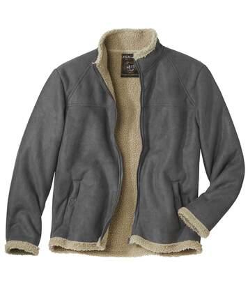Letecká bunda z umělého semiše zateplená umělou kožešinou