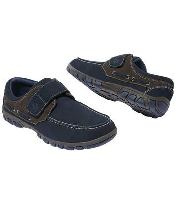 Men's Boat-Style Moccasins - Split Leather - Navy Brown