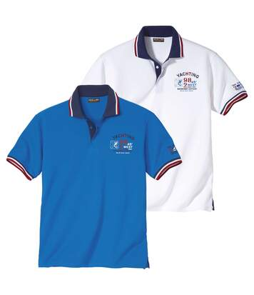Pack of 2 Men's Piqué Fabric Polo Shirts - Blue White