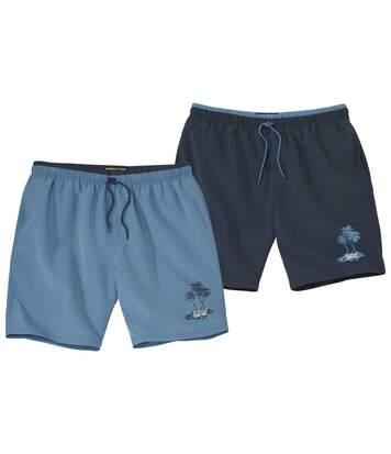 Pack of 2 Men's Summer Swim Shorts - Navy Blue