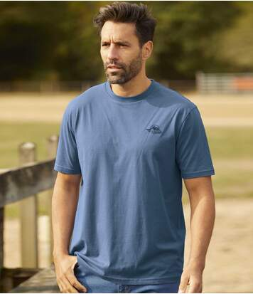 Pack of 4 Men's Casual T-shirts - Blue Red Black Brown