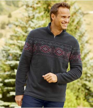 Men's Fleece Jacquard Jumper - Anthracite