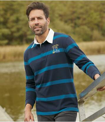Men's Striped Long-Sleeved Polo Shirt - Navy Blue
