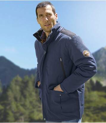 Men's Navy Multi-Pocket Parka Jacket
