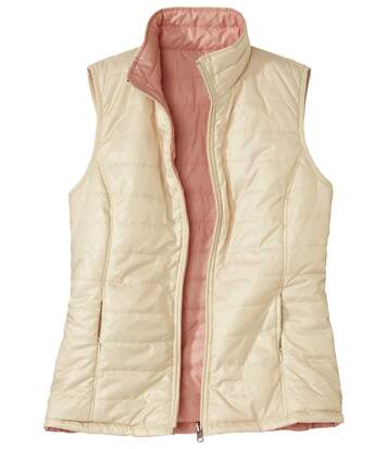 Women's Full Zip Reversible Padded Gilet - Water-Repellent - Beige Pink