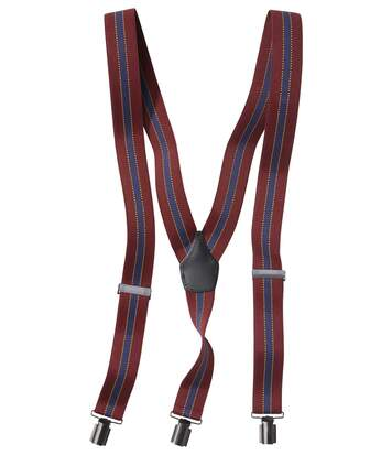 Men's Striped Braces Gift Set - Navy Burgundy