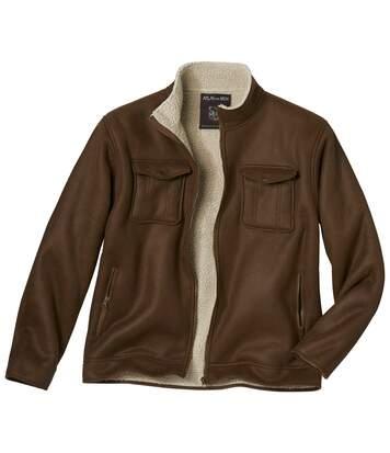 Men's Brown Sherpa-Lined Faux Suede Jacket