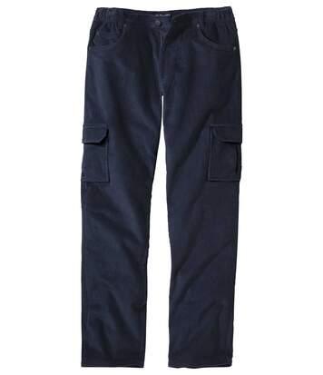 Pantalon Cargo Homme Marine Velours Confort