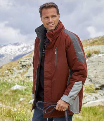 Men's Water-Repellent Atlas® Parka Coat – Red Grey - Full Zip