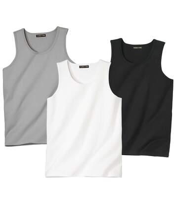 Pack of 3 Men's Essential Vests - Grey White Black