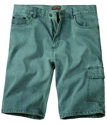 Men's Pale Blue Bleach Denim Shorts