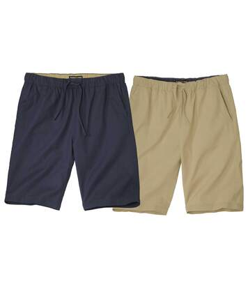 Pack of 2 Men's Canvas Shorts - Beige Navy