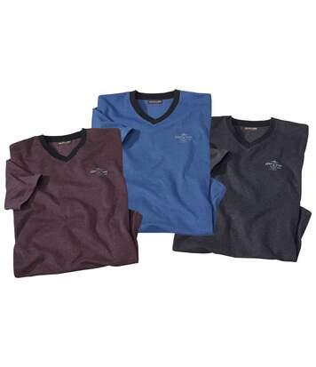 Súprava 3 melírovaných tričiek s výstrihom do V