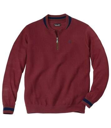 Sportowy sweter z wełny merynosa i kołnierzem teddy