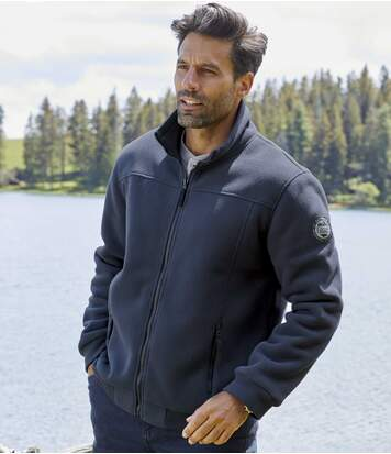 Men's Fleece Full Zip Winter Jacket - Sherpa Lining - Navy