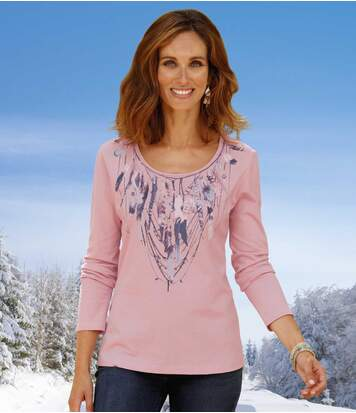 Women's Light Pink Long-Sleeve Top with Feather Print