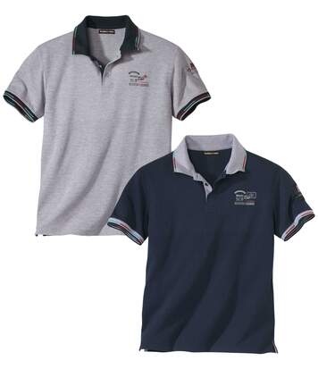 Pack of 2 Men's Piqué Polo Shirts - Navy Grey