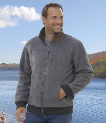 Men's Grey Fleece Jacket - Sherpa Lining