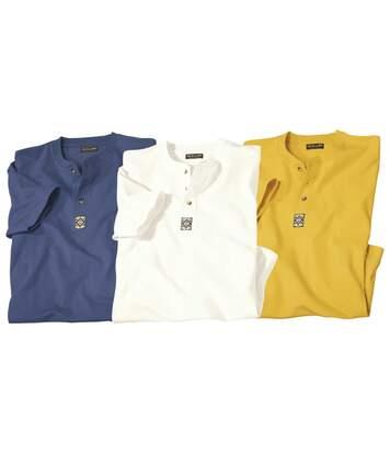 Pack of 3 Men's Navajos T-Shirts - Yellow Blue Ecru