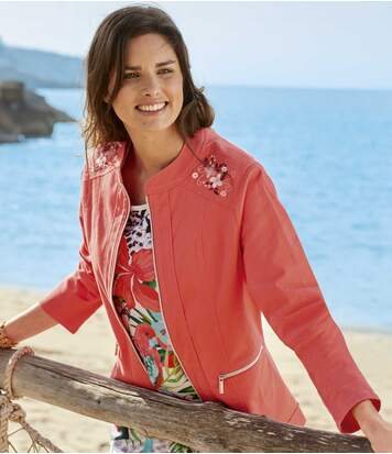 Women's Stretch Cotton Jacket - Coral