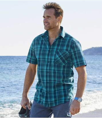 Geruit stretch overhemd Emerald Ocean