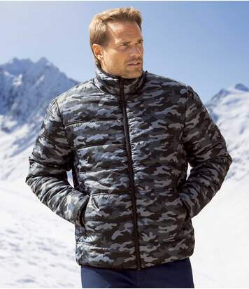 Men's Black & Grey Camouflage Puffer Jacket - Full Zip