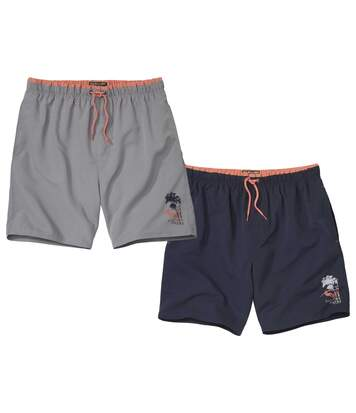 Pack of 2 Men's Surf Print Swim Shorts - Navy Grey