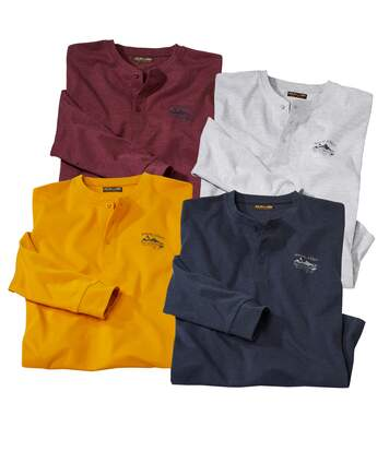 Men's Pack of 4 Button-Up Long Sleeve Tops
