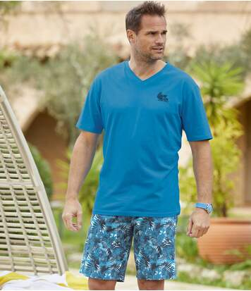 Men's Tropical Pyjama Short Set - Turquoise Blue