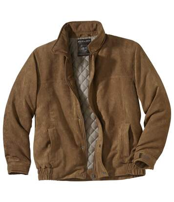 Men's Faux-Suede Padded Jacket - Full Zip