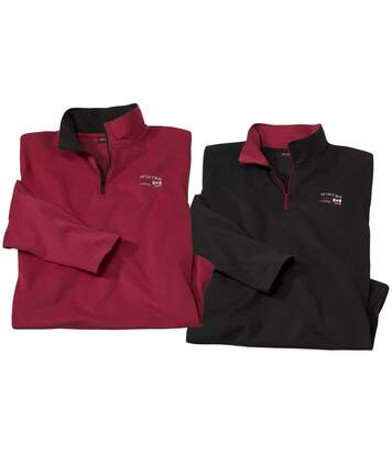 2er-Pack Poloshirts Winter mit RV-Kragen