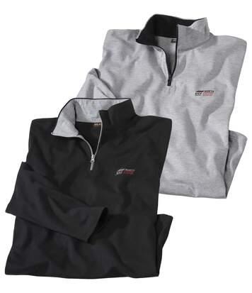 2er-Pack Poloshirts mit hochschließendem Kragen