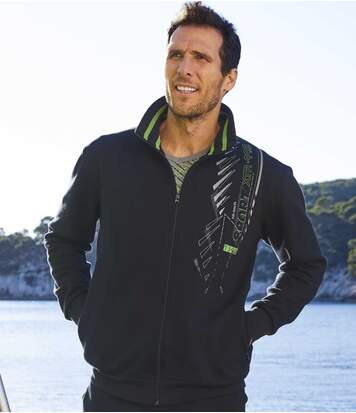 Men's Black Brushed Fleece Sports Jacket - Full Zip