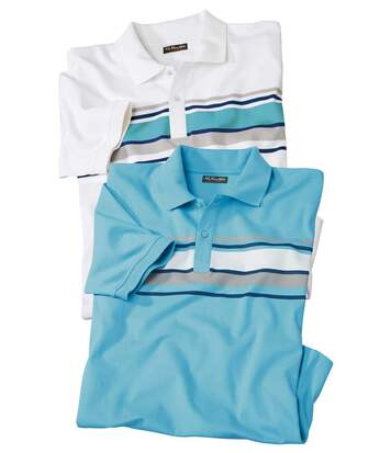 Pack of 2 Men's Polo Shirts - White Turquoise