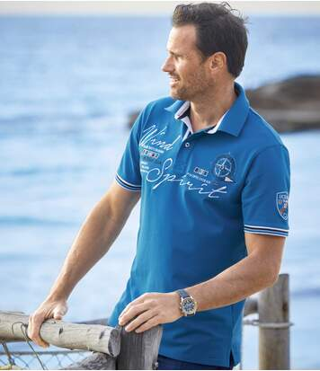 Men's Blue Polo Shirt - Sailing Print