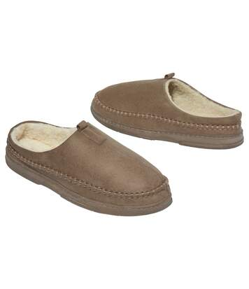 Men's Brown Sherpa-Lined Faux Suede Slippers